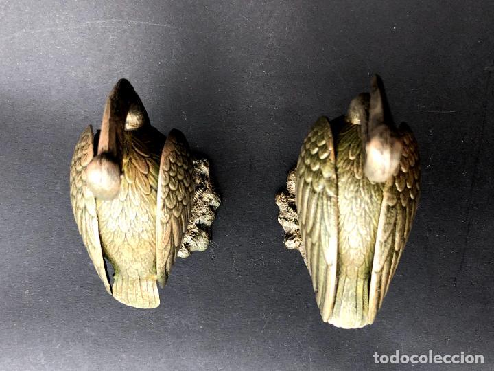 Antigüedades: Pareja de garzas reales.. Metal. Circa 1900. Japón ? 11,5 cm. - Foto 8 - 207761030