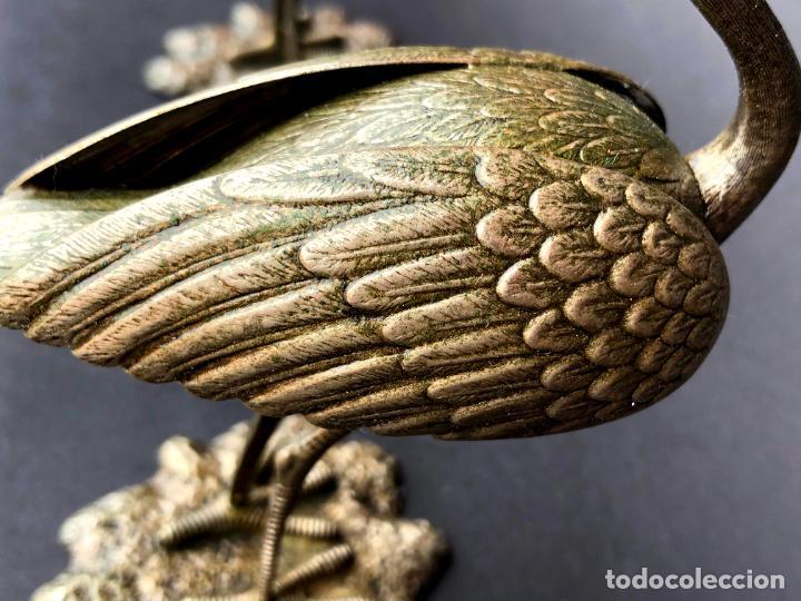 Antigüedades: Pareja de garzas reales.. Metal. Circa 1900. Japón ? 11,5 cm. - Foto 10 - 207761030