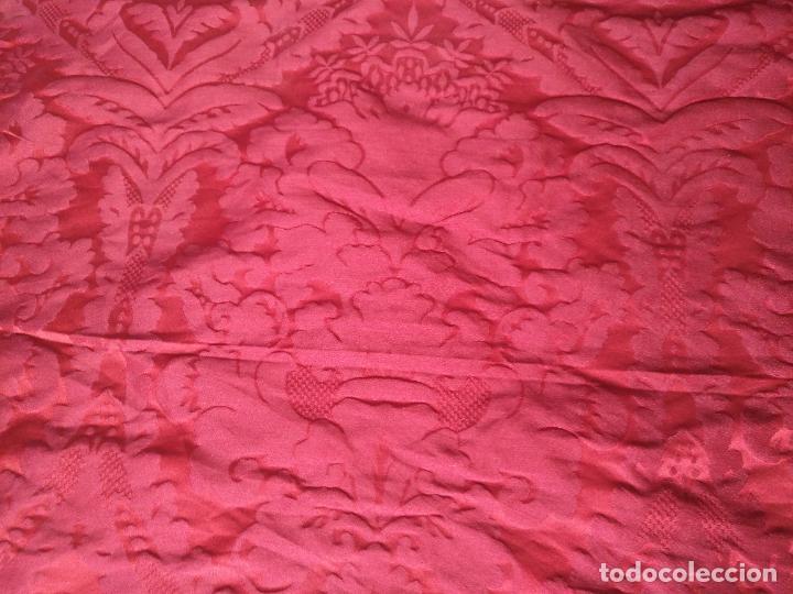Antigüedades: 158 x 91 tela brocado damasco ROJO GRANATE COFRADE virgen balcolera saya manto capilla semana santa - Foto 6 - 270961753