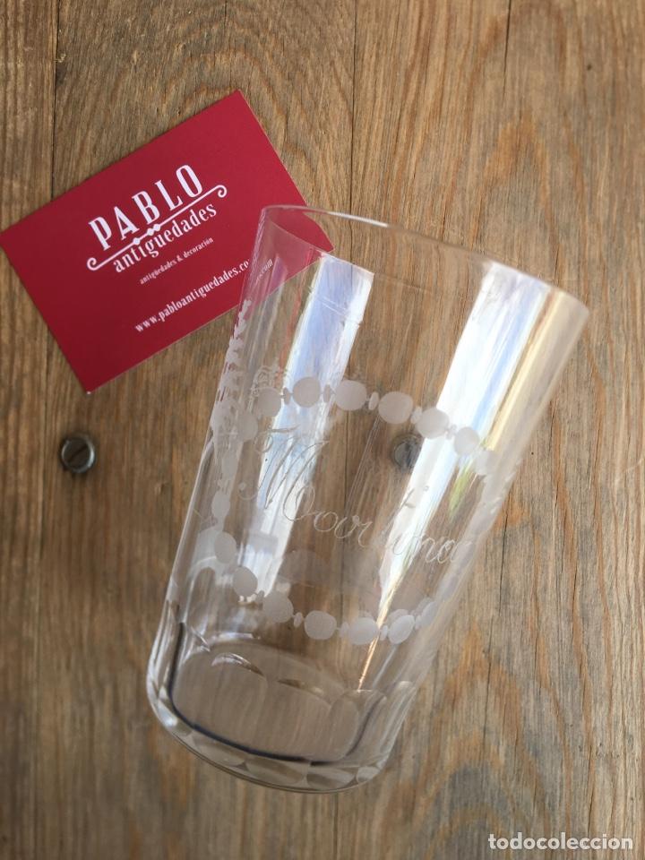 Antigüedades: Vaso grande de Cristal de La Granja - Martina y puertas y árboles grabados, inferior caras pulidas - Foto 2 - 207866015