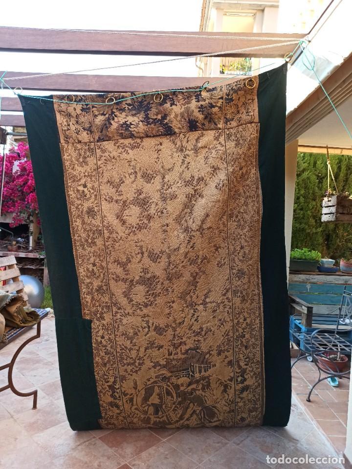 Antigüedades: Preciosa cortina con escena de caza (deteriorada) - Foto 3 - 207867820