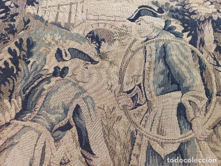 Antigüedades: Preciosa cortina con escena de caza (deteriorada) - Foto 7 - 207867820