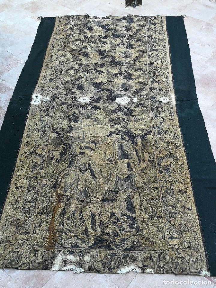 Antigüedades: Preciosa cortina con escena de caza (deteriorada) - Foto 21 - 207867820