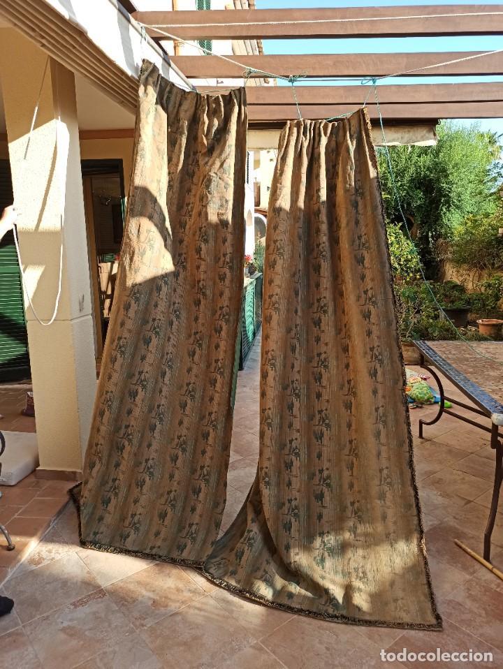 Antigüedades: Cuatro antiguas cortinas verdes - Foto 11 - 207868787