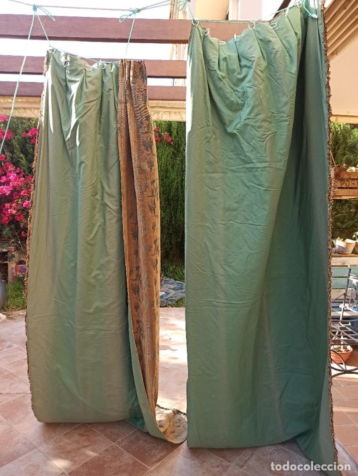 Antigüedades: Cuatro antiguas cortinas verdes - Foto 13 - 207868787