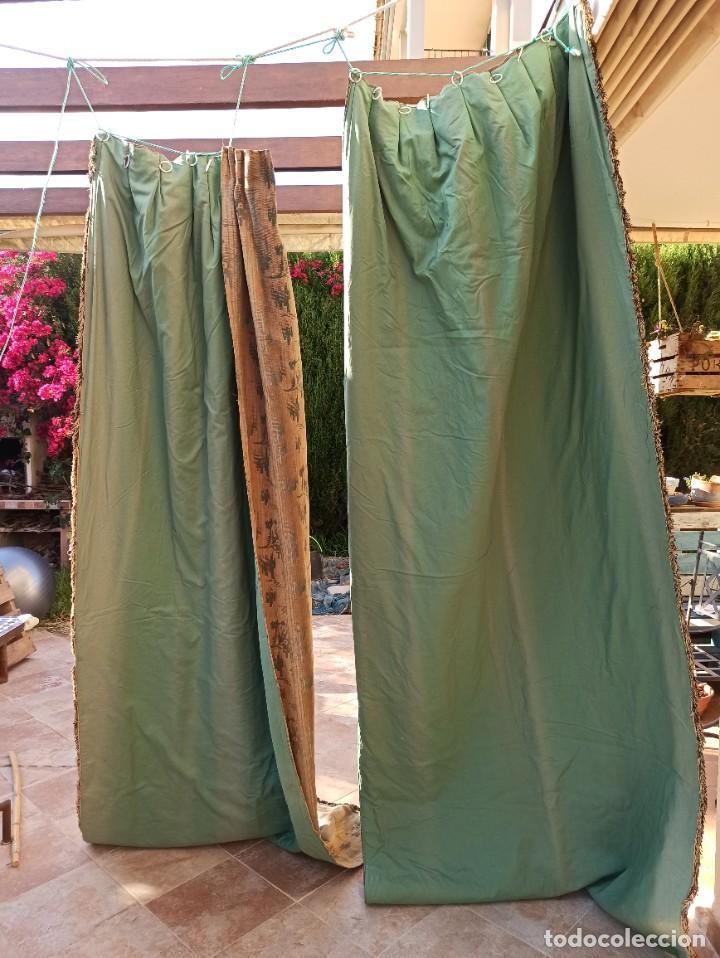 Antigüedades: Cuatro antiguas cortinas verdes - Foto 14 - 207868787