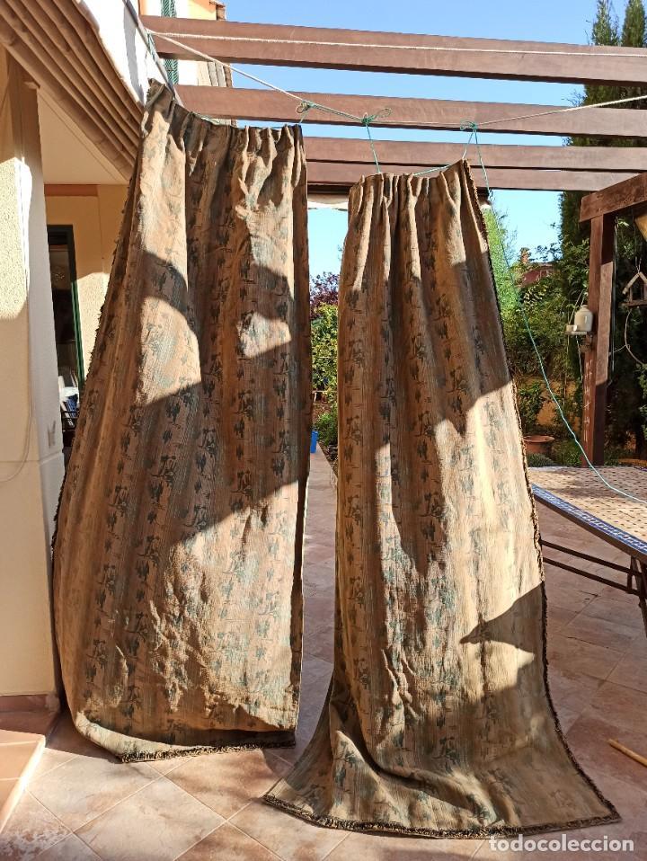Antigüedades: Cuatro antiguas cortinas verdes - Foto 15 - 207868787