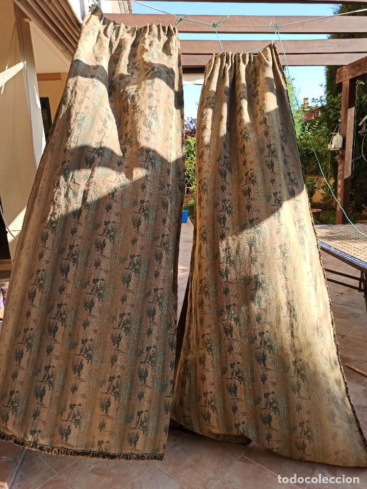 Antigüedades: Cuatro antiguas cortinas verdes - Foto 16 - 207868787