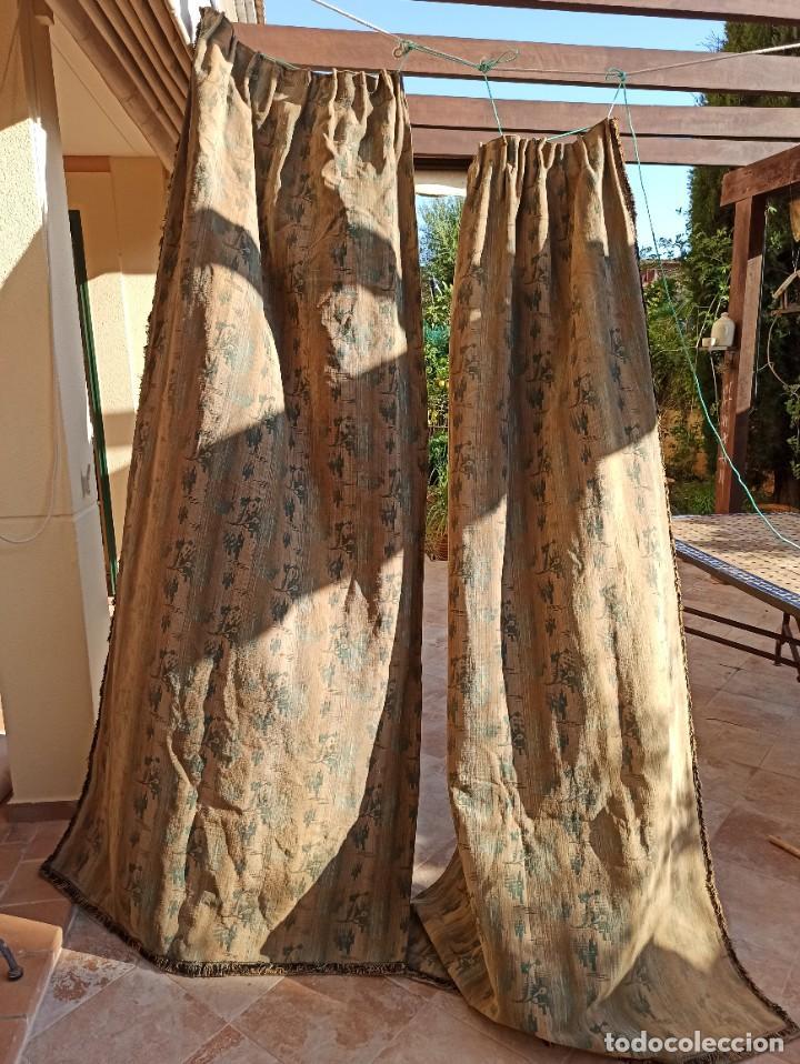 Antigüedades: Cuatro antiguas cortinas verdes - Foto 18 - 207868787