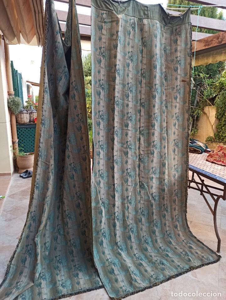Antigüedades: Cuatro antiguas cortinas verdes - Foto 22 - 207868787