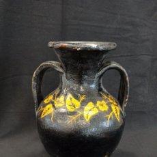 Antigüedades: CÁNTARA DE BARRO NEGRA CON DECORACIÓN FLORAL. C9. Lote 207898456