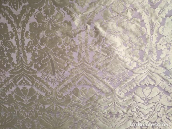 Antigüedades: 158 x 91 tela brocado damasco color verde virgen balcolera saya manto capilla semana santa - Foto 5 - 270937588
