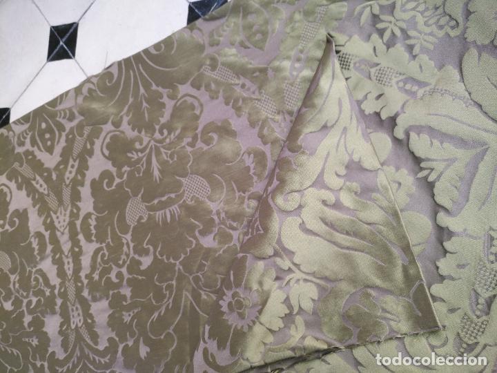 Antigüedades: 158 x 91 tela brocado damasco color verde virgen balcolera saya manto capilla semana santa - Foto 12 - 270937588