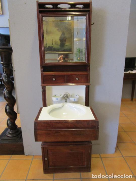 Antigüedades: Antiguo Mueble de Barco - Compañía Trasatlántica Vapores Correos, Barcelona - Madera Caoba - S. XIX - Foto 2 - 207929101