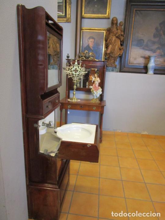 Antigüedades: Antiguo Mueble de Barco - Compañía Trasatlántica Vapores Correos, Barcelona - Madera Caoba - S. XIX - Foto 14 - 207929101