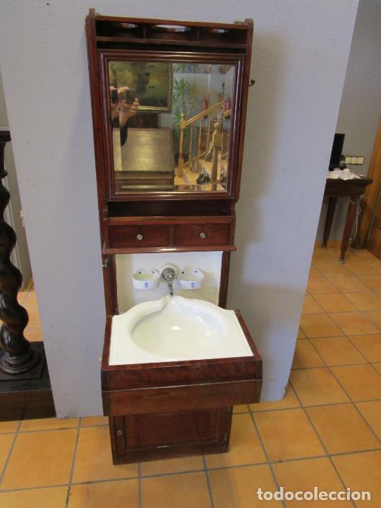 Antigüedades: Antiguo Mueble de Barco - Compañía Trasatlántica Vapores Correos, Barcelona - Madera Caoba - S. XIX - Foto 15 - 207929101