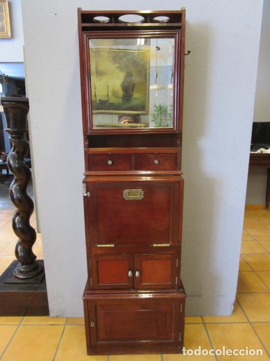 Antigüedades: Antiguo Mueble de Barco - Compañía Trasatlántica Vapores Correos, Barcelona - Madera Caoba - S. XIX - Foto 16 - 207929101