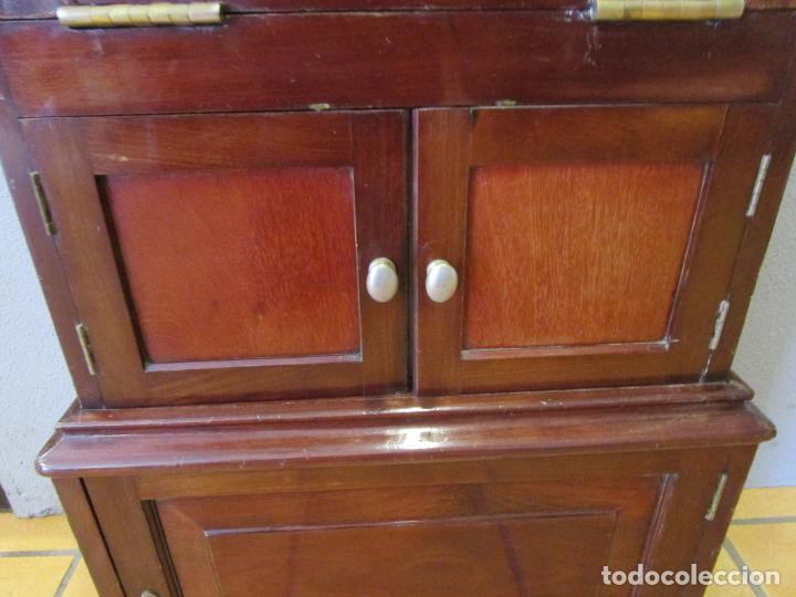 Antigüedades: Antiguo Mueble de Barco - Compañía Trasatlántica Vapores Correos, Barcelona - Madera Caoba - S. XIX - Foto 23 - 207929101