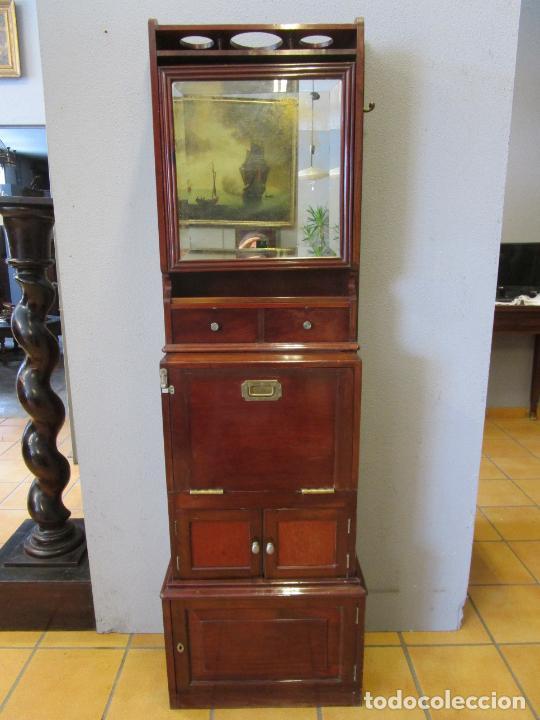 Antigüedades: Antiguo Mueble de Barco - Compañía Trasatlántica Vapores Correos, Barcelona - Madera Caoba - S. XIX - Foto 24 - 207929101