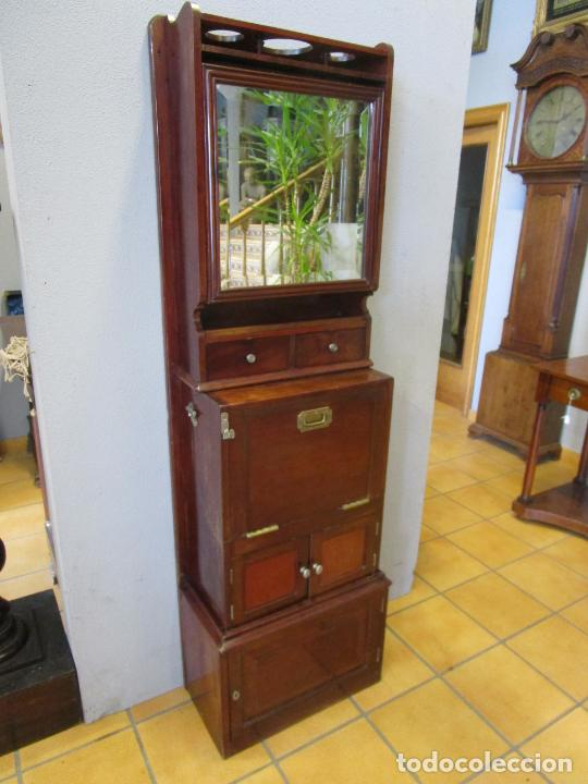 Antigüedades: Antiguo Mueble de Barco - Compañía Trasatlántica Vapores Correos, Barcelona - Madera Caoba - S. XIX - Foto 30 - 207929101