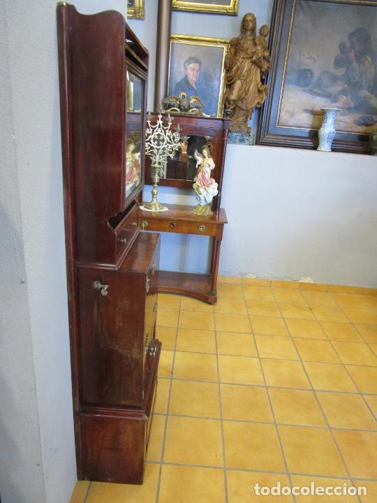 Antigüedades: Antiguo Mueble de Barco - Compañía Trasatlántica Vapores Correos, Barcelona - Madera Caoba - S. XIX - Foto 31 - 207929101