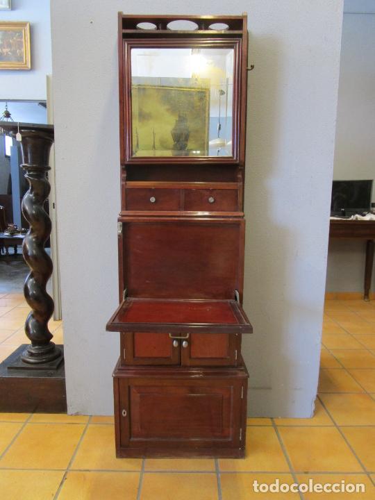Antigüedades: Antiguo Mueble de Barco - Compañía Trasatlántica Vapores Correos, Barcelona - Madera Caoba - S. XIX - Foto 38 - 207929101