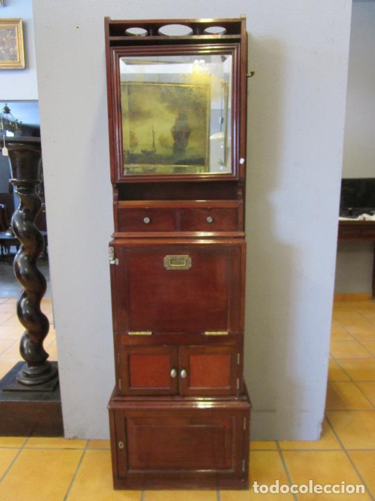 Antigüedades: Antiguo Mueble de Barco - Compañía Trasatlántica Vapores Correos, Barcelona - Madera Caoba - S. XIX - Foto 46 - 207929101