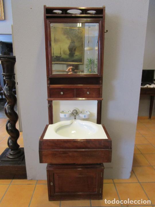 Antigüedades: Antiguo Mueble de Barco - Compañía Trasatlántica Vapores Correos, Barcelona - Madera Caoba - S. XIX - Foto 47 - 207929101