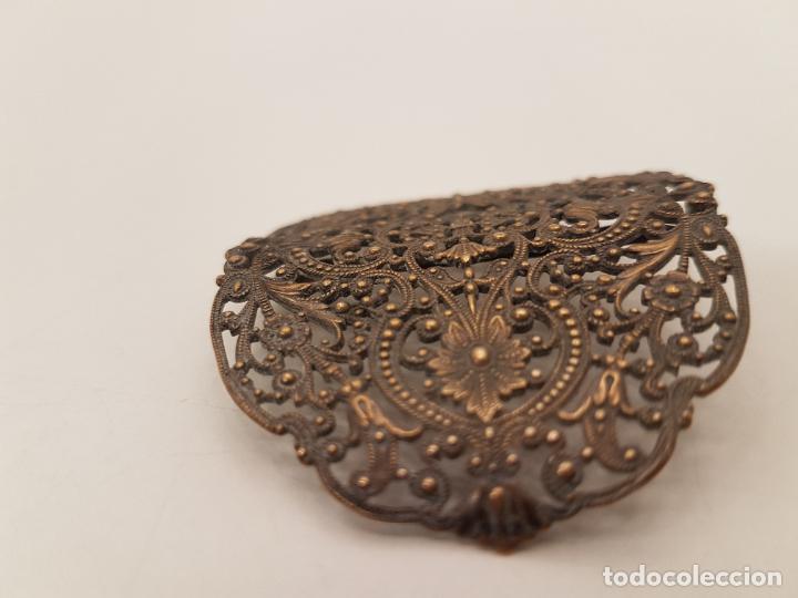 Antigüedades: HEBILLA DE BRONCE, AÑOS 20, FILIGRANA, (7X5) - Foto 3 - 207930922