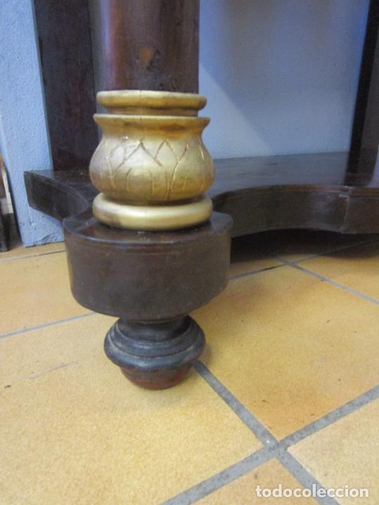Antigüedades: Antigua Consola Isabelina - Madera jacarandá - Marquetería - Mármol Carrara - Espejo - S. XIX - Foto 7 - 207954857
