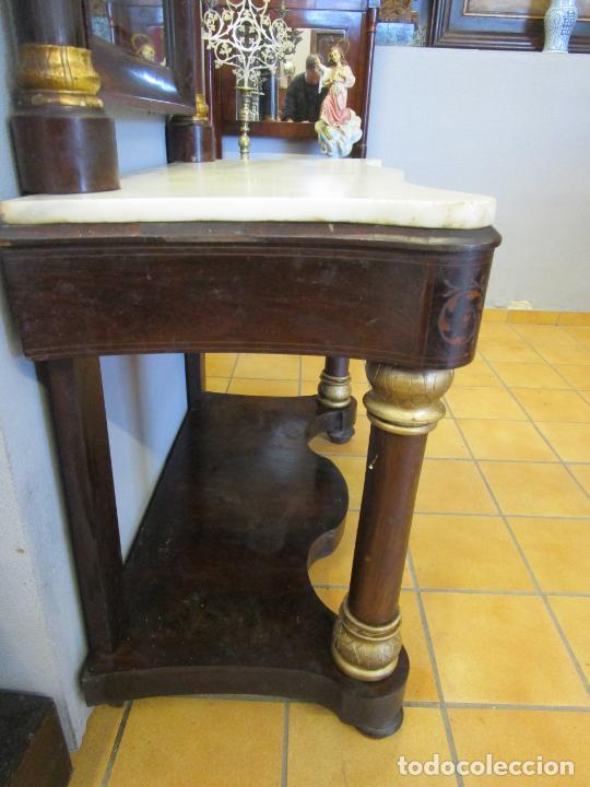 Antigüedades: Antigua Consola Isabelina - Madera jacarandá - Marquetería - Mármol Carrara - Espejo - S. XIX - Foto 15 - 207954857