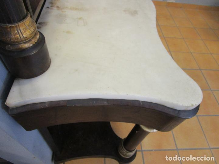 Antigüedades: Antigua Consola Isabelina - Madera jacarandá - Marquetería - Mármol Carrara - Espejo - S. XIX - Foto 16 - 207954857