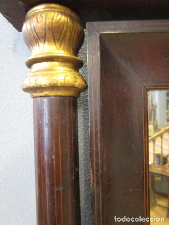 Antigüedades: Antigua Consola Isabelina - Madera jacarandá - Marquetería - Mármol Carrara - Espejo - S. XIX - Foto 19 - 207954857