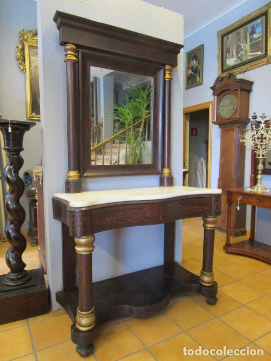 Antigüedades: Antigua Consola Isabelina - Madera jacarandá - Marquetería - Mármol Carrara - Espejo - S. XIX - Foto 26 - 207954857