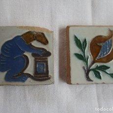 Antigüedades: PAREJA DE OLAMBRILLAS AZULEJOS RAMOS REJANO. Lote 207984530