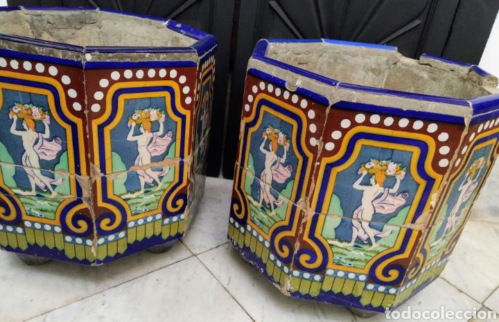 Antigüedades: Magníficos maceteros de azulejos modernistas. Final siglo XIX. - Foto 4 - 207986240