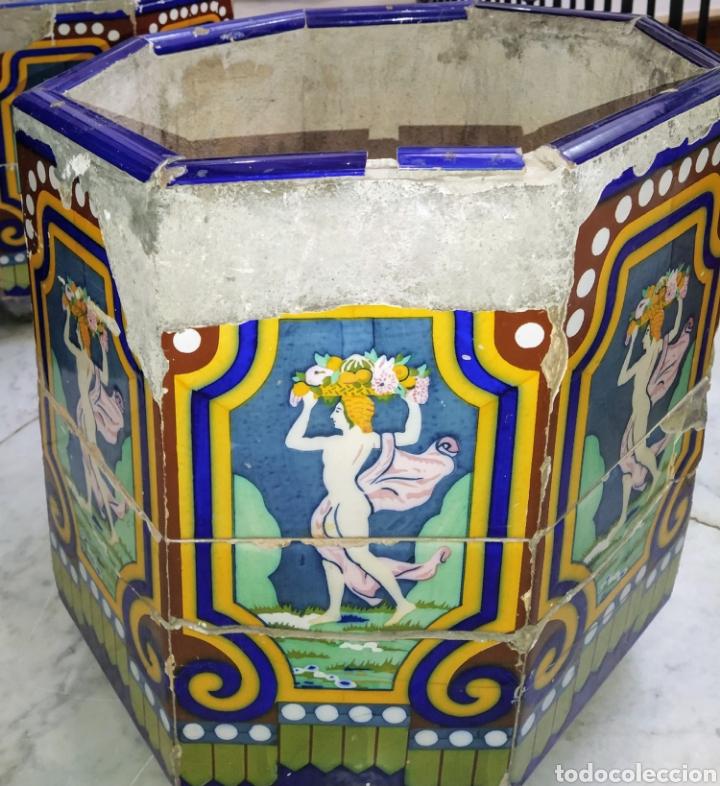Antigüedades: Magníficos maceteros de azulejos modernistas. Final siglo XIX. - Foto 20 - 207986240