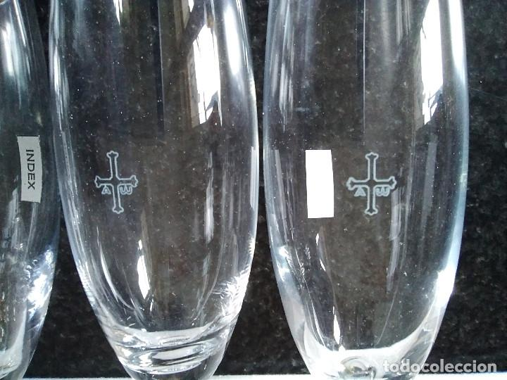 Antigüedades: 27-JUEGO 6 COPAS CAVA CRISTAL DE BOHEMIA, cruz asturias grabada al acido, en caja original, nuevo - Foto 8 - 208004767