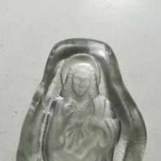 Antigüedades: CORAZÓN DE JESÚS. FIGURA VIDRIO CON RELIEVE DE LA IMAGEN, PARA SOBREMESA O PISAPAPELES.. Lote 208031412