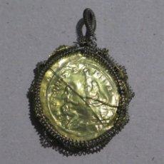 Antigüedades: MEDALLON RELICARIO DE PLATA. NUESTRA SRA. DEL T. DEL METAL. FRAGMENTO AGNUS DEI. SIGLO XVIII-XIX. Lote 208051160