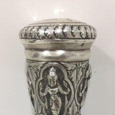 Antigüedades: ANTIGUO Y ESPECTACULAR BASTÓN INGLÉS EN PLATA SIGLO XIX. Lote 208057117