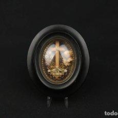 Oggetti Antichi: ANTIGUO RELICARIO CON TRES RELIQUIAS DE SANTOS. Lote 208071205