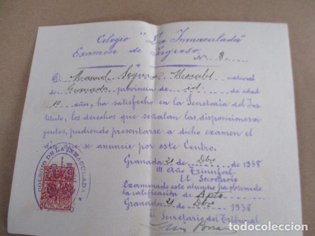 COLEGIO LA INMACULADA - EXAMEN DE INGRESO - 1938 (Antigüedades - Religiosas - Varios)