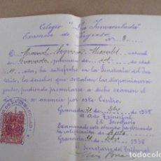 Antigüedades: COLEGIO LA INMACULADA - EXAMEN DE INGRESO - 1938. Lote 208071422