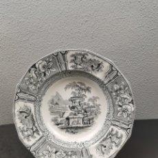 Antigüedades: ANTIGUO PLATO DE SARGADELOS MODELO GÓNDOLA TERCERA ÉPOCA DE COLOR NEGRO, SERIE NEGRO. SELLO Y TAMPÓ.. Lote 208076577