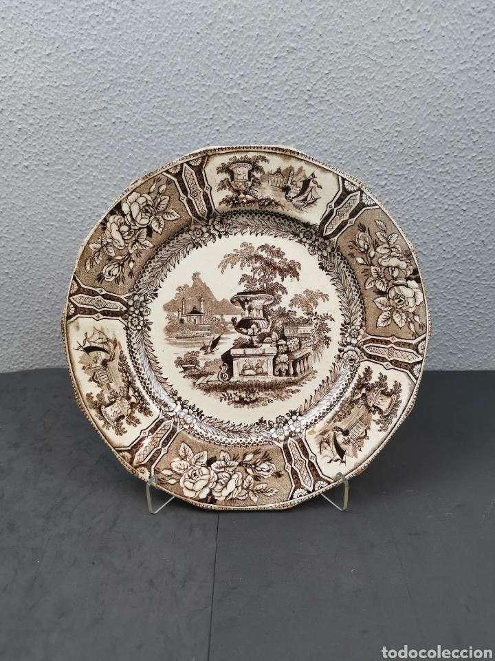 ANTIGUO PLATO DE LA REAL FÁBRICA DE SARGADELOS. SERIE GÓNDOLA EN MARRÓN OCRE. CON SELLO Y TAMPÓN. (Antigüedades - Porcelanas y Cerámicas - Sargadelos)