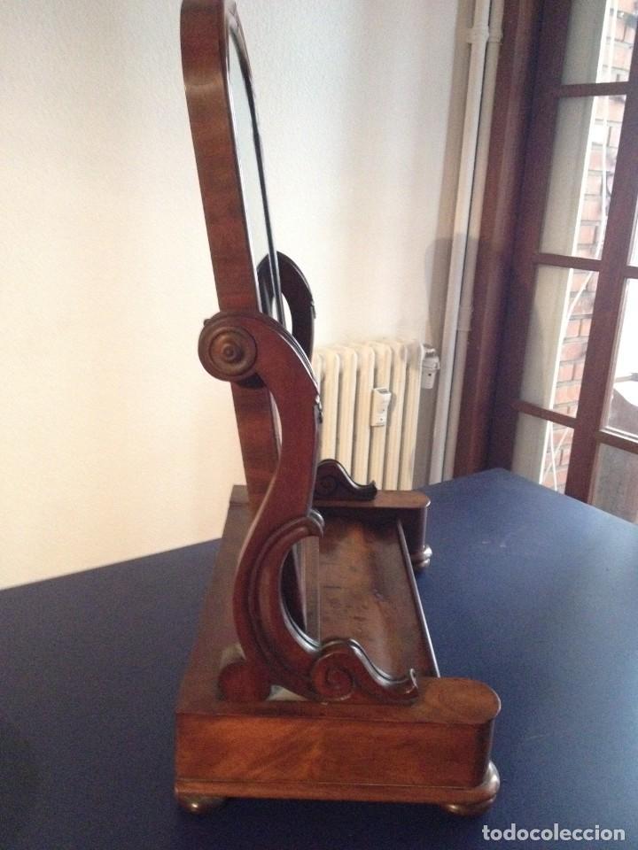 Antigüedades: Espejo tocador balancín de caoba s XIX - Foto 4 - 208094552