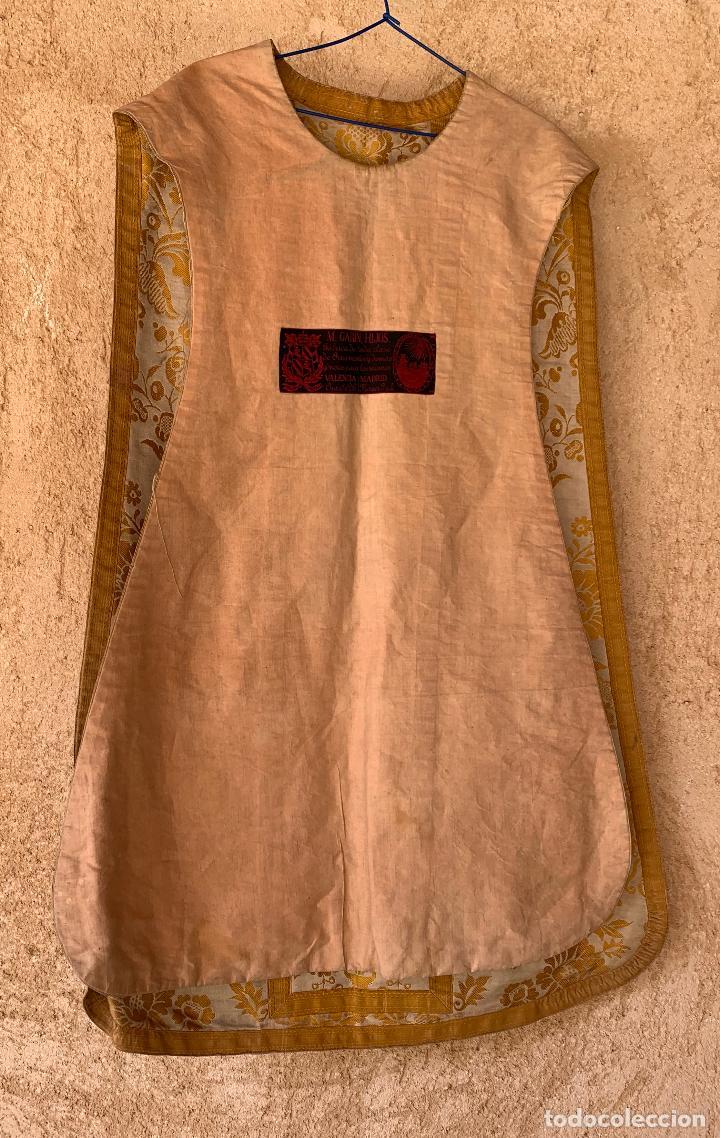 Antigüedades: ANTIGUA CASULLA SIGLO XIX .. M GARIN , HIJOS .MADRID . SOCIEDAD ECONOMICA AMIGOS DEL PAIS VALENCIA - Foto 12 - 208119987