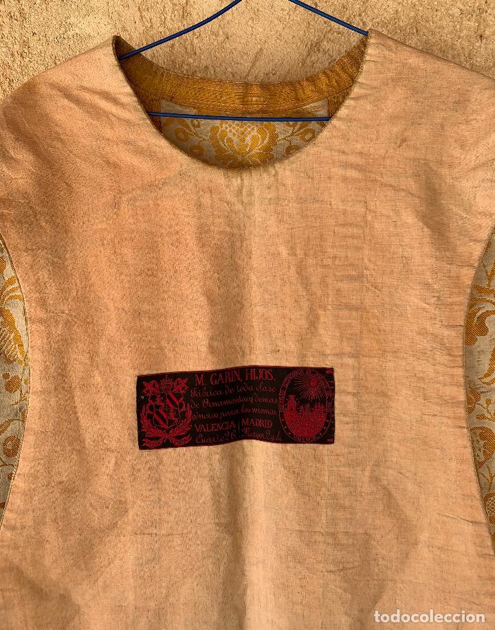Antigüedades: ANTIGUA CASULLA SIGLO XIX .. M GARIN , HIJOS .MADRID . SOCIEDAD ECONOMICA AMIGOS DEL PAIS VALENCIA - Foto 14 - 208119987