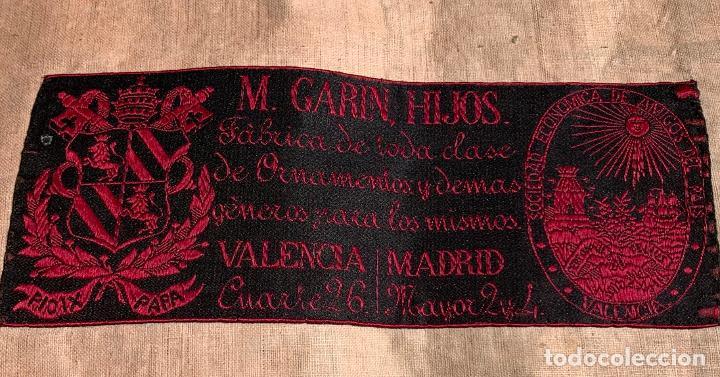 Antigüedades: ANTIGUA CASULLA SIGLO XIX .. M GARIN , HIJOS .MADRID . SOCIEDAD ECONOMICA AMIGOS DEL PAIS VALENCIA - Foto 20 - 208119987